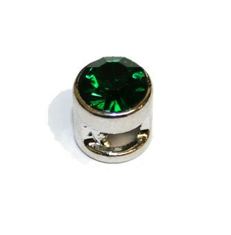 1pce x 9mm Rhodium plated sliding bead with dark green rhinestone -- S.A -- WC201 -- 4000108