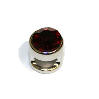 1pce x 9mm Rhodium plated sliding bead with ruby red rhinestone -- S.A -- WC201 -- 4000098