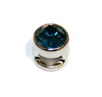1pce x 9mm Rhodium plated sliding bead with teal rhinestone -- S.A -- WC201 -- 4000102
