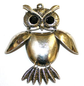 1pce x Antique silver articulated owl pendant with black eyes 50mm - S.F04 - WA211 - 1411116