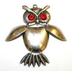 1pce x Antique silver articulated owl pendant with red eyes 50mm - S.F04 - WA214 - 1411118