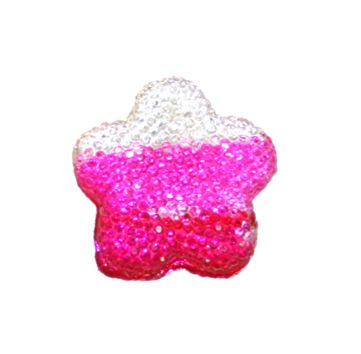 1piece x 15mm*15mm*4mm Diamond acrylic flat back clear-pink-hot pink colour -- flower shape -- DAFB-FS015-001