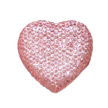 1piece x 20mm*19mm*5mm Diamond acrylic flat back baby pink colour -- heart shape -- DAFB-H020-022