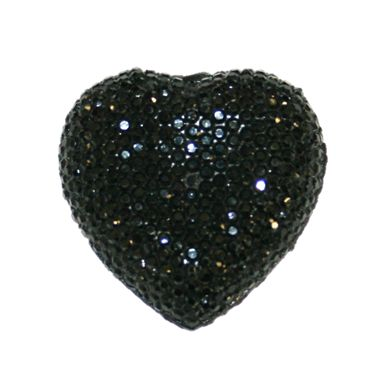 1piece x 20mm*19mm*5mm Diamond acrylic flat back black colour -- heart shape -- DAFB-H020-002
