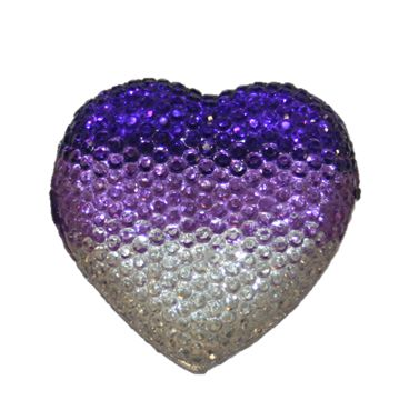 1piece x 20mm*19mm*5mm Diamond acrylic flat back clear-lilac-purle colour -- heart shape -- DAFB-H020-019