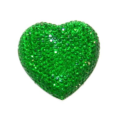 1piece x 20mm*19mm*5mm Diamond acrylic flat back green colour -- heart shape -- DAFB-H020-013