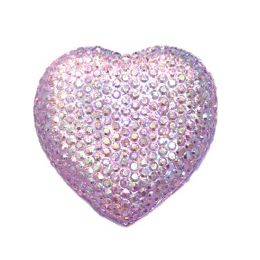 1piece x 20mm*19mm*5mm Diamond acrylic flat back lilac with AB coating colour -- heart shape -- DAFB-H020-009