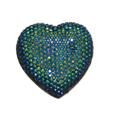 1piece x 20mm*19mm*5mm Diamond acrylic flat back navy blue with AB coating colour -- heart shape -- DAFB-H020-026