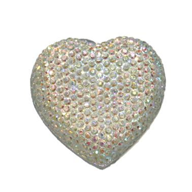 1piece x 20mm*19mm*5mm Diamond acrylic flat back silver colour -- heart shape -- DAFB-H020-014