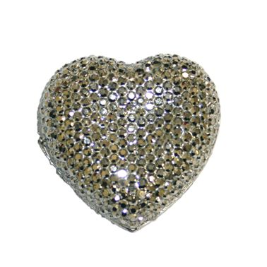 1piece x 20mm*19mm*5mm Diamond acrylic flat back silver colour -- heart shape -- DAFB-H020-023