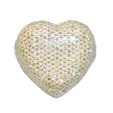 1piece x 20mm*19mm*5mm Diamond acrylic flat back silver with AB coating colour -- heart shape -- DAFB-H020-015