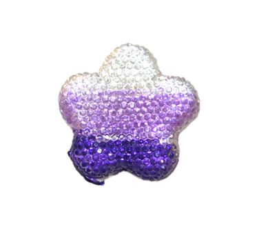 1piece x 34mm*34mm*5mm Diamond acrylic flat back clear-lilac-purple colour -- flower shape -- DAFB-FL034-002