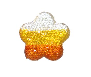 1piece x 34mm*34mm*5mm Diamond acrylic flat back clear-yellow-orange colour -- flower shape -- DAFB-FL034-003
