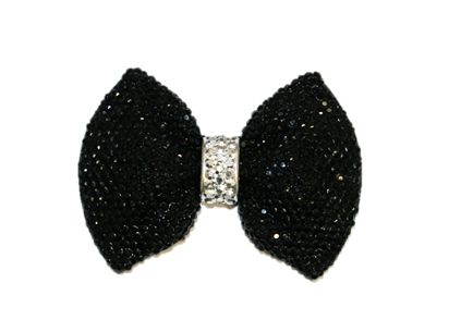 1piece x 58mm*43mm*9mm Diamond acrylic flat back black colour bow with silver -- DAFB-BT02