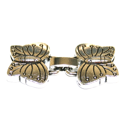 1set x Antique silver butterfly clasp
