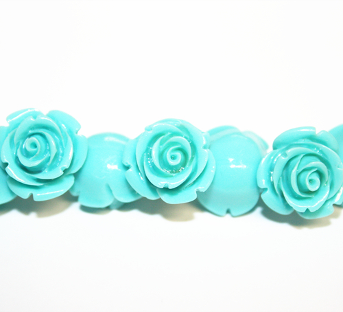 20pcs x 10mm Acrylic flower - rose beads - turquoise