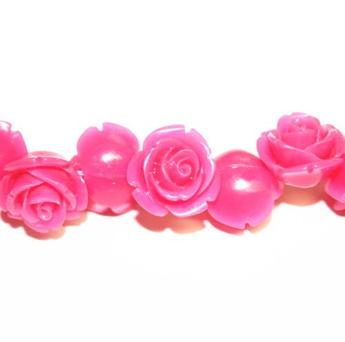 20pcs x 8mm Acrylic flower - rose beads - hot pink