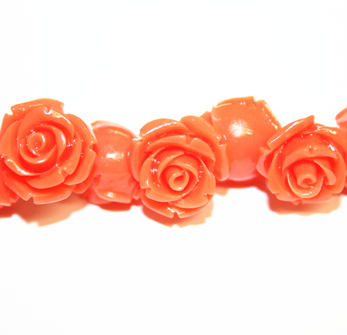 20pcs x 8mm Acrylic flower - rose beads - orange