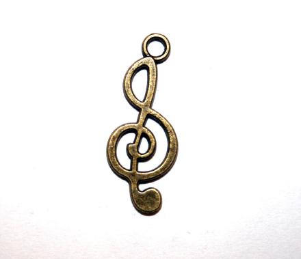 24 Pces x Antique Brass Music Note Alloy Charm #ACH0025 Size 25MM X 11MM