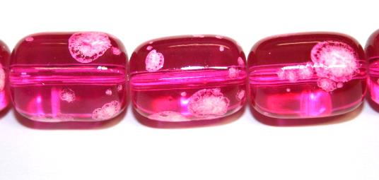 26pieces x 16mm*12mm Hot pink colour oval shape bubble gum glass beads / speckled glass beads -- 3005156