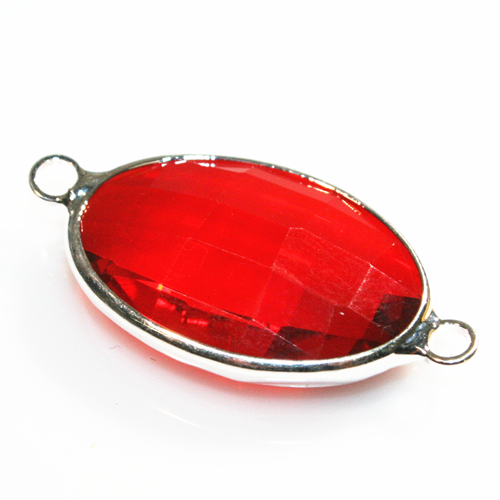 27*20mm Red colour oval crystal connectors