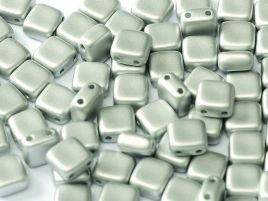 29405 2-HOLE SQUARES 6 X 6 MM ALABASTER METALLIC SILVER (25 pieces)