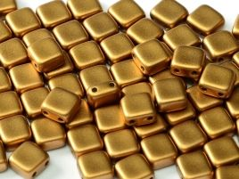 29415 2-HOLE SQUARES 6 X 6 MM ALABASTER METALLIC BRASS (25 pieces)