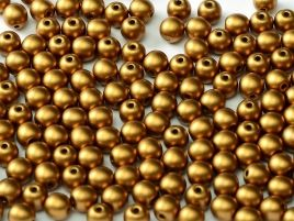 29415 ROUND CZECH BEADS 6 MM ALABASTER METALLIC BRASS (50 pieces)