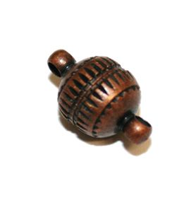 2pcs X Antique copper colour oval ribbed magnetic clasp - S.F – WC190 - 4002055