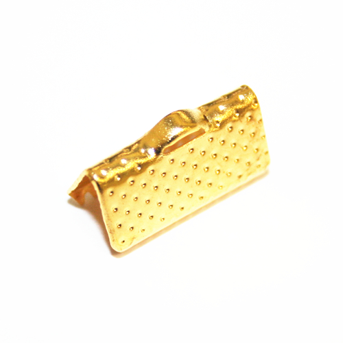 30pcs x 13mm gold ribbon end - C7003019