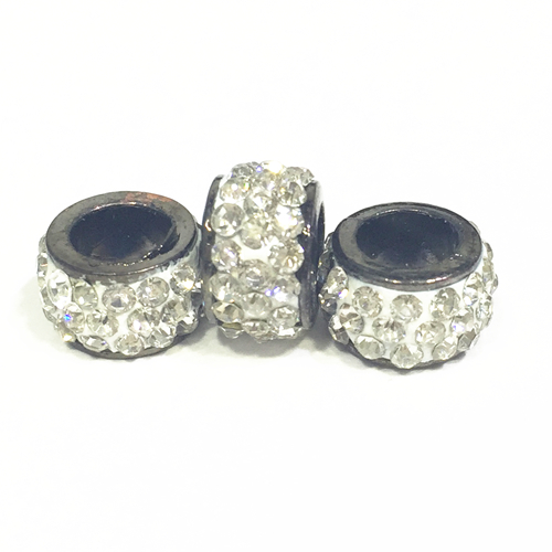 3pcs x 10mm Large hole pave crystal beads with silver