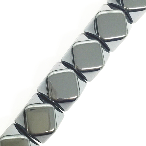 42pcs x 10*10mm Faceted square / cube hematite bead