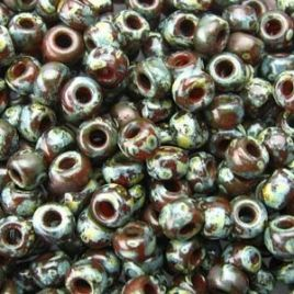4503 SEED BEADS 8/0 PICASSO TRANSP RED BROWN