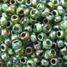 4506 SEED BEADS 8/0 PICASSO TRANSP OLIVINE