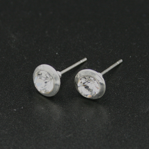 4pcs x 7.5mm Silver plated earing stud with ring - C8008034