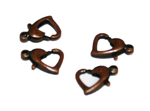 4pcs X antique copper colour heart clasp - S.F – WC190 - 4000016