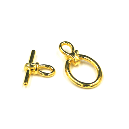 5pcs x Oval shape toggle clasps - gold colour - C8008073