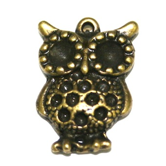 6 x Antique Brass Owl Charm – 18 x 14mm S.F5 – WA211 - 1411115