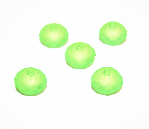 68pcs x 12*9mm Rubber coated acrylic rondelle beads - light green