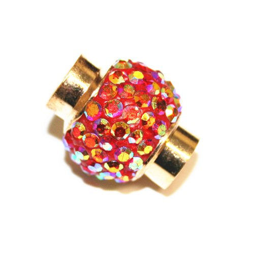 6mm- 15mm*12mm Red AB stone pave crystal magnetic clasps - gold