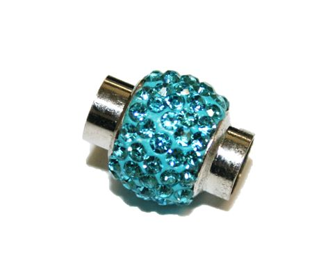 6mm - 15mm*12mm Turquoise stone pave crystal magnetic clasps -rhodium - 07