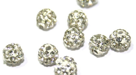 6mm Pave crystal beads - 55 stones - half drilled for earrings