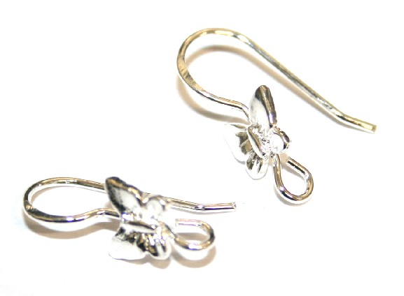 6pcs x Silver plated earring hook with butterfly - S.F09 - 2003024