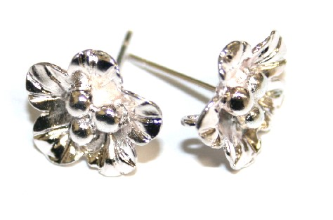 6pcs x Silver plated flower earring studs - S.F09 - 2002033