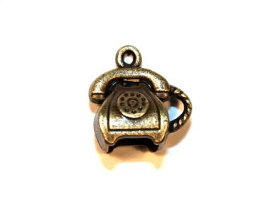 7 Pces x Antique Brass Phone Alloy Charm #ACH008 Size 15MM X 15MM