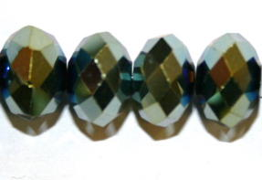 72pcs x 10mm Metal green rondelle faceted glass beads -- S.J -- 3005689