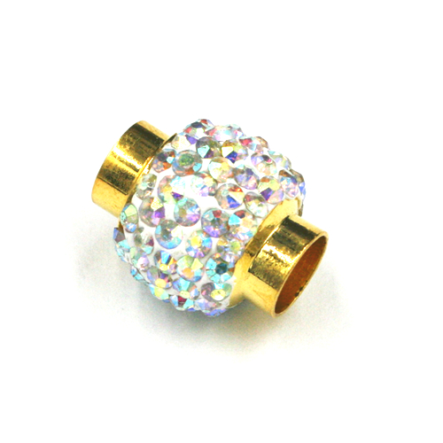 7mm - 17mm*14mm clear ab stone pave crystal magnetic clasps - gold colour -01
