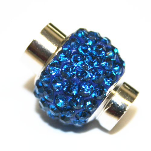 7mm - 17mm x 14mm - Blue stone pave crystal magnetic clasps - rhodium