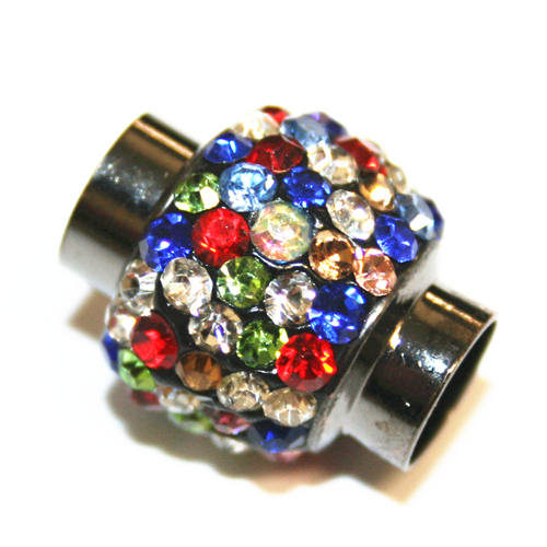 7mm - 17mm x 14mm - Multi-colour stone pave crystal magnetic clasps - gunmetal