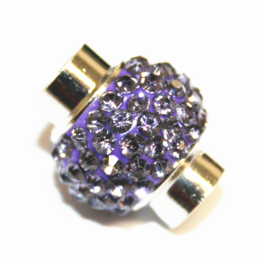 7mm - 17mm x 14mm - Violet stone pave crystal magnetic clasps - rhodium